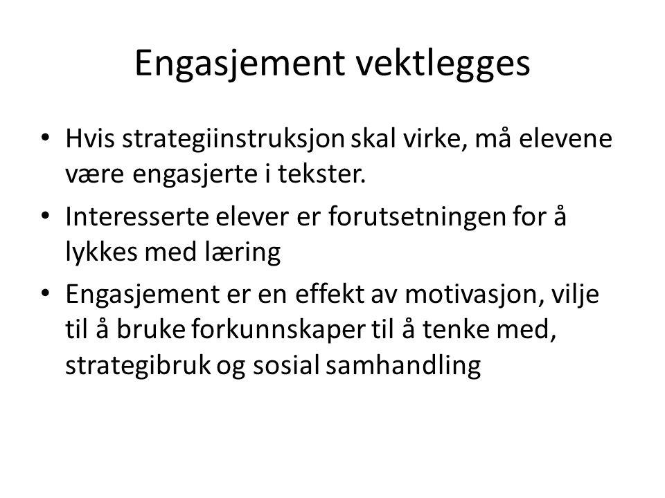 Engasjement vektlegges Hvis strategiinstruksjon skal virke, må elevene være engasjerte i tekster.