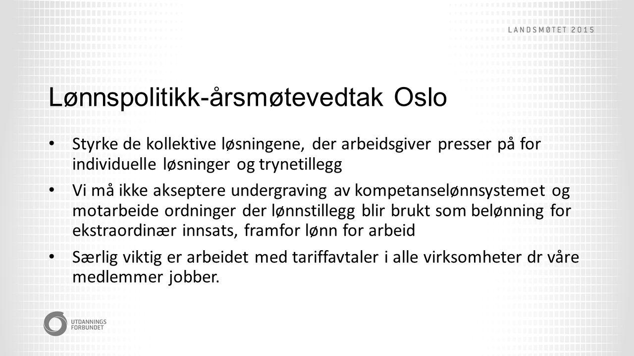 Lønnspolitikk-årsmøtevedtak Oslo Styrke de kollektive løsningene, der arbeidsgiver presser på for individuelle løsninger og trynetillegg Vi må ikke akseptere undergraving av kompetanselønnsystemet og motarbeide ordninger der lønnstillegg blir brukt som belønning for ekstraordinær innsats, framfor lønn for arbeid Særlig viktig er arbeidet med tariffavtaler i alle virksomheter dr våre medlemmer jobber.