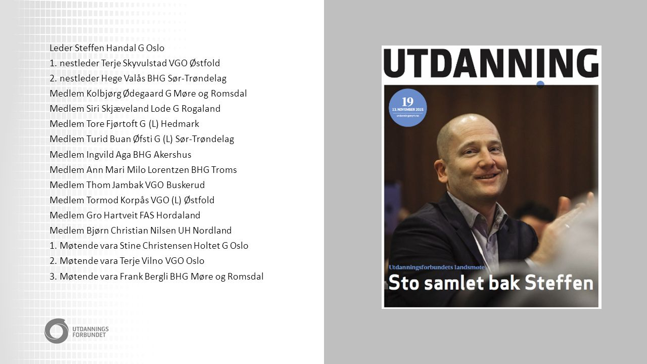 Leder Steffen Handal G Oslo 1. nestleder Terje Skyvulstad VGO Østfold 2.