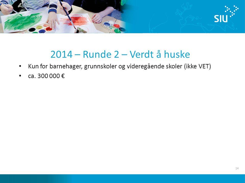14 2014 – Runde 2 – Verdt å huske Kun for barnehager, grunnskoler og videregående skoler (ikke VET) ca.