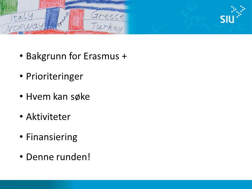 Bakgrunn for Erasmus + Prioriteringer Hvem kan søke Aktiviteter Finansiering Denne runden!