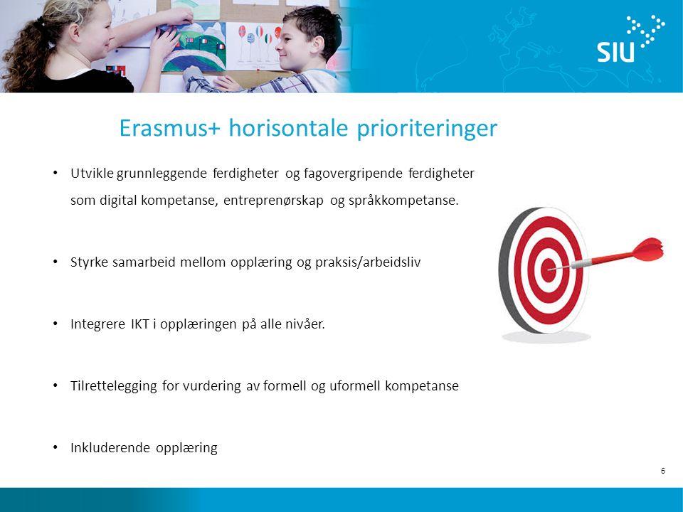 6 Erasmus+ horisontale prioriteringer Utvikle grunnleggende ferdigheter og fagovergripende ferdigheter som digital kompetanse, entreprenørskap og språkkompetanse.
