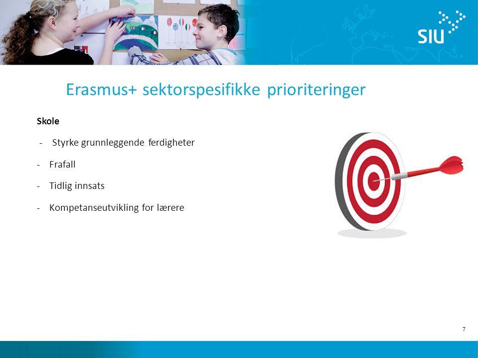 7 Erasmus+ sektorspesifikke prioriteringer Skole - Styrke grunnleggende ferdigheter -Frafall -Tidlig innsats -Kompetanseutvikling for lærere
