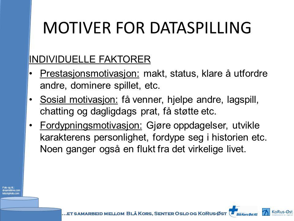 MOTIVER FOR DATASPILLING INDIVIDUELLE FAKTORER Prestasjonsmotivasjon: makt, status, klare å utfordre andre, dominere spillet, etc.