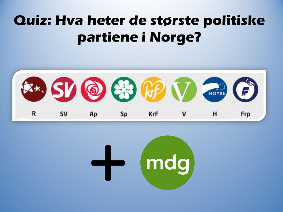 Quiz: Hva heter de største politiske partiene i Norge? + ?