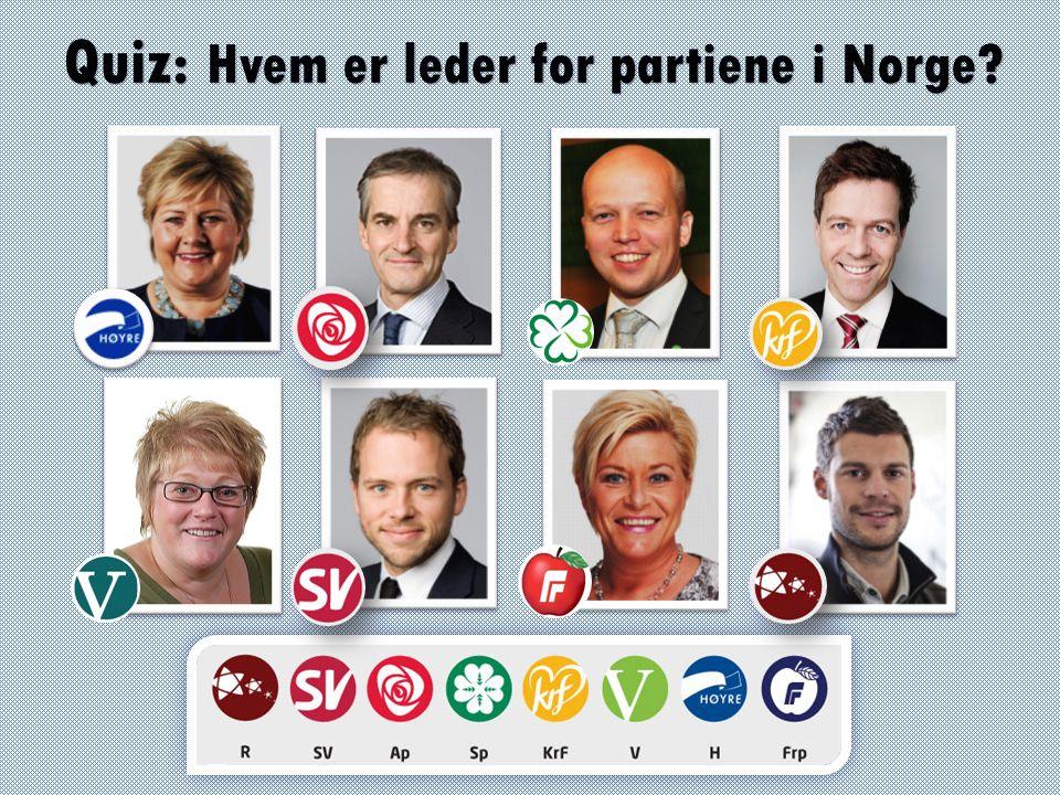 Quiz: Hvem er leder for partiene i Norge?