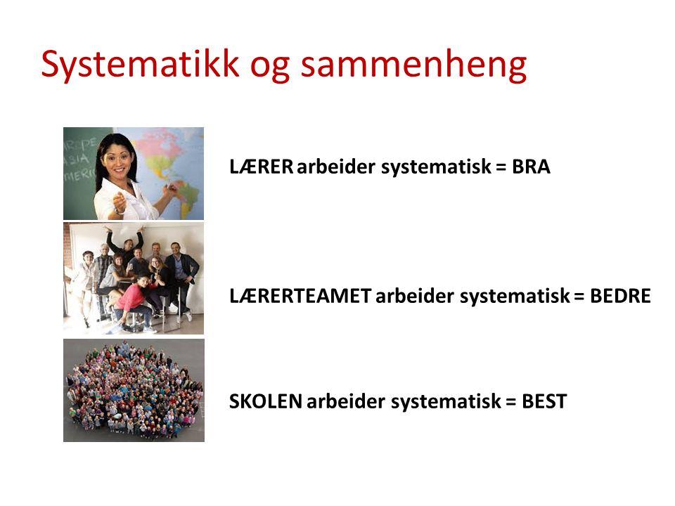 Systematikk og sammenheng LÆRERarbeider systematisk = BRA LÆRERTEAMET arbeider systematisk = BEDRE SKOLEN arbeider systematisk = BEST
