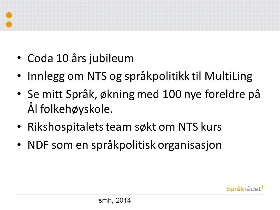 Coda 10 års jubileum Innlegg om NTS og språkpolitikk til MultiLing Se mitt Språk, økning med 100 nye foreldre på Ål folkehøyskole. Rikshospitalets tea