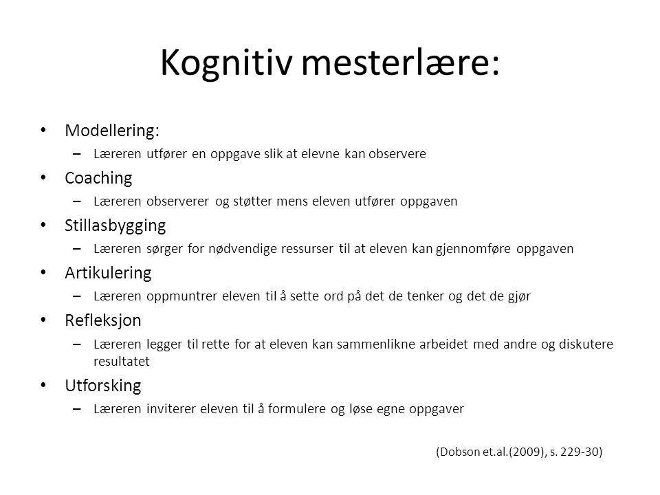 Kognitiv mesterlære: Modellering: – Læreren utfører en oppgave slik at elevne kan observere Coaching – Læreren observerer og støtter mens eleven utfør