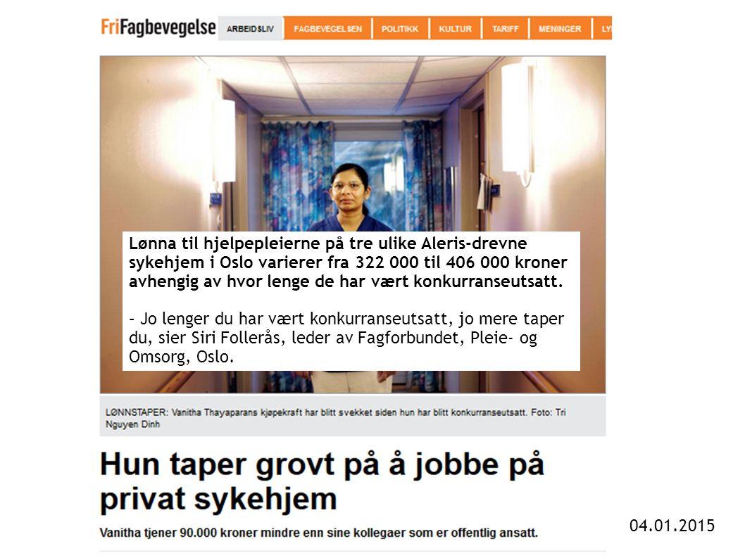 Lønna til hjelpepleierne på tre ulike Aleris-drevne sykehjem i Oslo varierer fra 322 000 til 406 000 kroner avhengig av hvor lenge de har vært konkurranseutsatt.