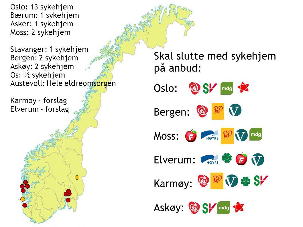 Oslo: 13 sykehjem Bærum: 1 sykehjem Asker: 1 sykehjem Moss: 2 sykehjem Stavanger: 1 sykehjem Bergen: 2 sykehjem Askøy: 2 sykehjem Os: ½ sykehjem Austevoll: Hele eldreomsorgen Karmøy - forslag Elverum - forslag Oslo: Bergen: Moss: Elverum: Karmøy: Askøy: Skal slutte med sykehjem på anbud: