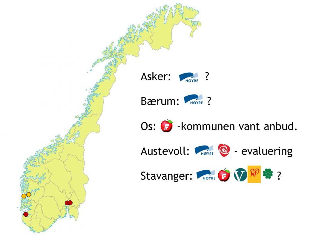 Asker: ? Bærum: ? Os: -kommunen vant anbud. Austevoll: - evaluering Stavanger: ?