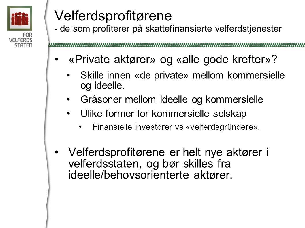 Velferdsprofitørene - de som profiterer på skattefinansierte velferdstjenester «Private aktører» og «alle gode krefter».