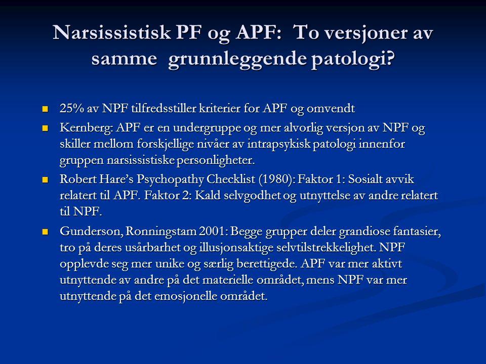 Narsissistisk PF og APF: To versjoner av samme grunnleggende patologi? 25% av NPF tilfredsstiller kriterier for APF og omvendt 25% av NPF tilfredsstil