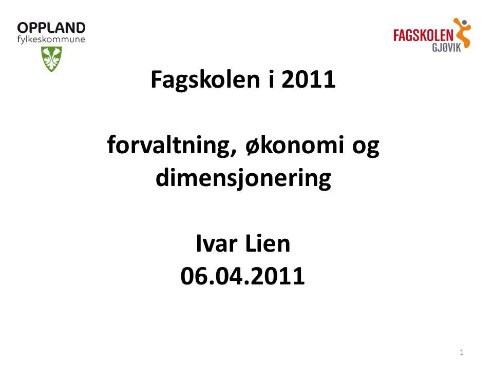 Fagskolen i 2011 forvaltning, økonomi og dimensjonering Ivar Lien 06.04.2011 1