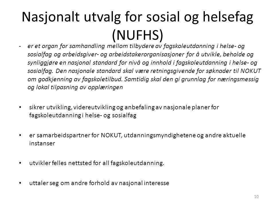 Nasjonalt utvalg for sosial og helsefag (NUFHS) 10 -er et organ for samhandling mellom tilbydere av fagskoleutdanning i helse- og sosialfag og arbeidsgiver- og arbeidstakerorganisasjoner for å utvikle, beholde og synliggjøre en nasjonal standard for nivå og innhold i fagskoleutdanning i helse- og sosialfag.
