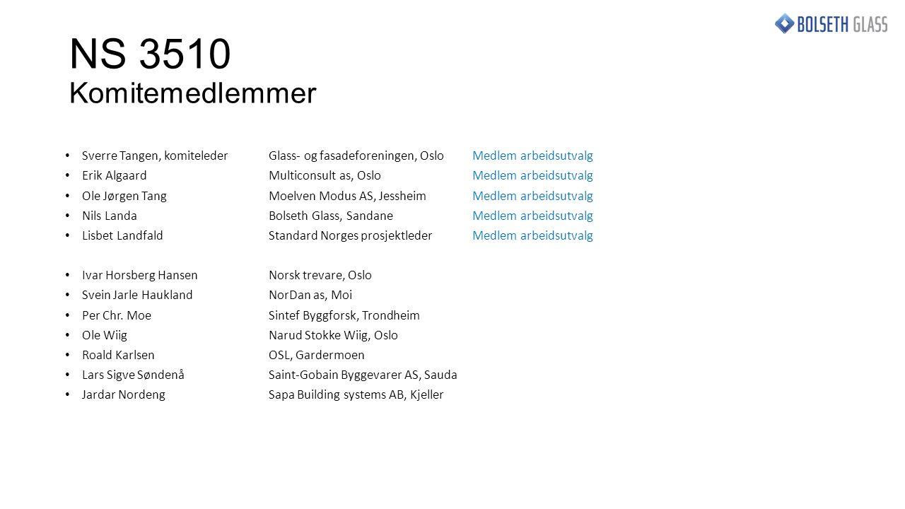 NS 3510 Ny utgave 2015 Omredigert og oppdatert Angir ytelsesnivå etter TEK 10 Tilpasset krav til sikkerhet i europeiske konstruksjonsstandarder (NS-EN 1990, 1991-1) og bransjestandarder for glass (prEN 16612 og 16613) Norges første offisielle standard for dimensjonering av glass i tillegg B Tilføyd nye tabeller for rekkverk og vegger i tillegg A, alle tabellene er revidert Effektivt verktøy for arkitekter, rådgivere, byggherrer og utførende Vil NS 3510 skape så mye tillitt til glass at folk tør å flytte seg bort fra stålrekkverket og støtte seg til midten av glassruta?