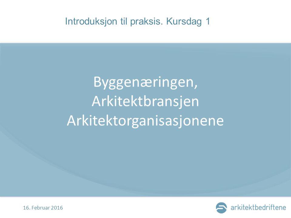 BYGGENÆRINGEN I NORGE Omfang Byggenæringen i Norge sysselsetter 220.000 personer (2013) Samlet omsetningen er på kr 400milliarder eller kr 2 milliarder per effektiv arbeidsdag Arkitekter planlegger og prosjekterer for kr 4 mrd.