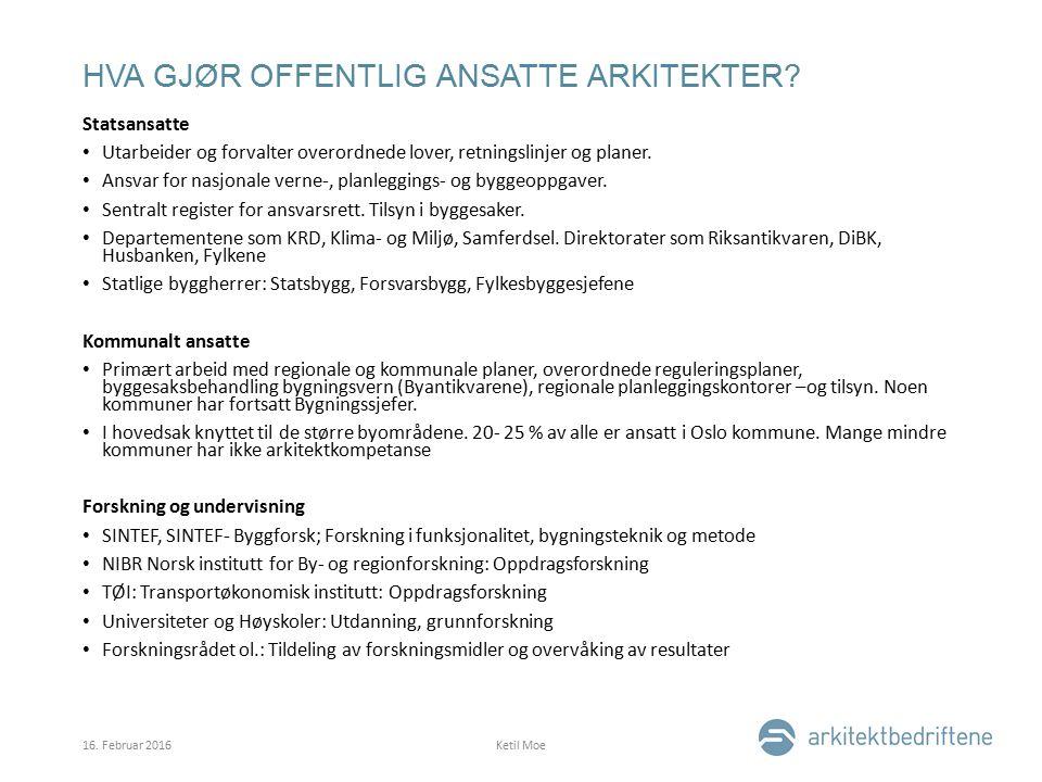HVA GJØR OFFENTLIG ANSATTE ARKITEKTER.
