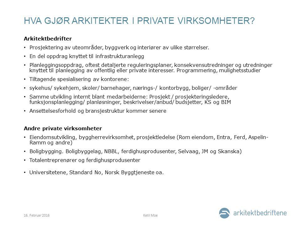HVA GJØR ARKITEKTER I PRIVATE VIRKSOMHETER.