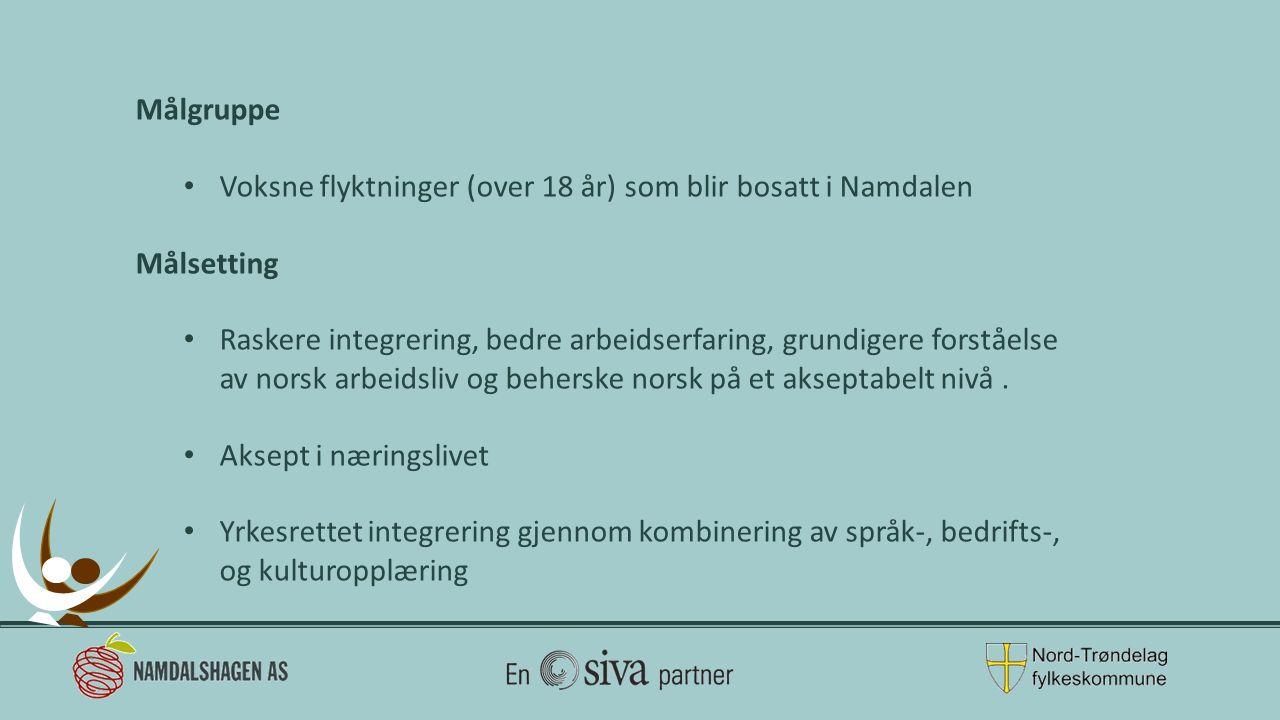 Målgruppe Voksne flyktninger (over 18 år) som blir bosatt i Namdalen Målsetting Raskere integrering, bedre arbeidserfaring, grundigere forståelse av norsk arbeidsliv og beherske norsk på et akseptabelt nivå.