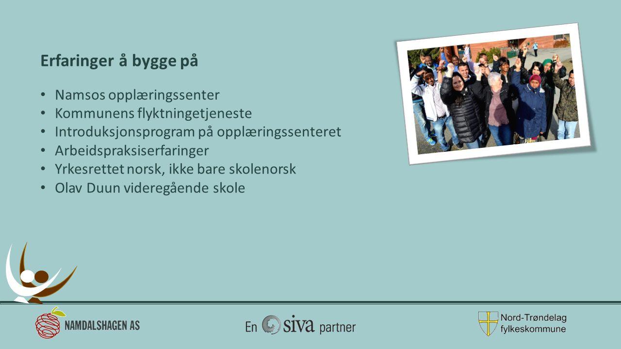 Erfaringer å bygge på Namsos opplæringssenter Kommunens flyktningetjeneste Introduksjonsprogram på opplæringssenteret Arbeidspraksiserfaringer Yrkesrettet norsk, ikke bare skolenorsk Olav Duun videregående skole