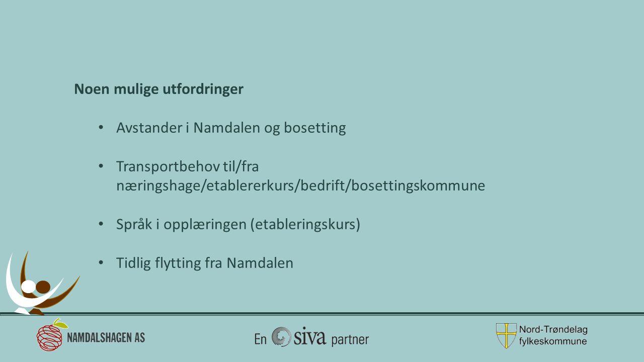 Noen mulige utfordringer Avstander i Namdalen og bosetting Transportbehov til/fra næringshage/etablererkurs/bedrift/bosettingskommune Språk i opplæringen (etableringskurs) Tidlig flytting fra Namdalen