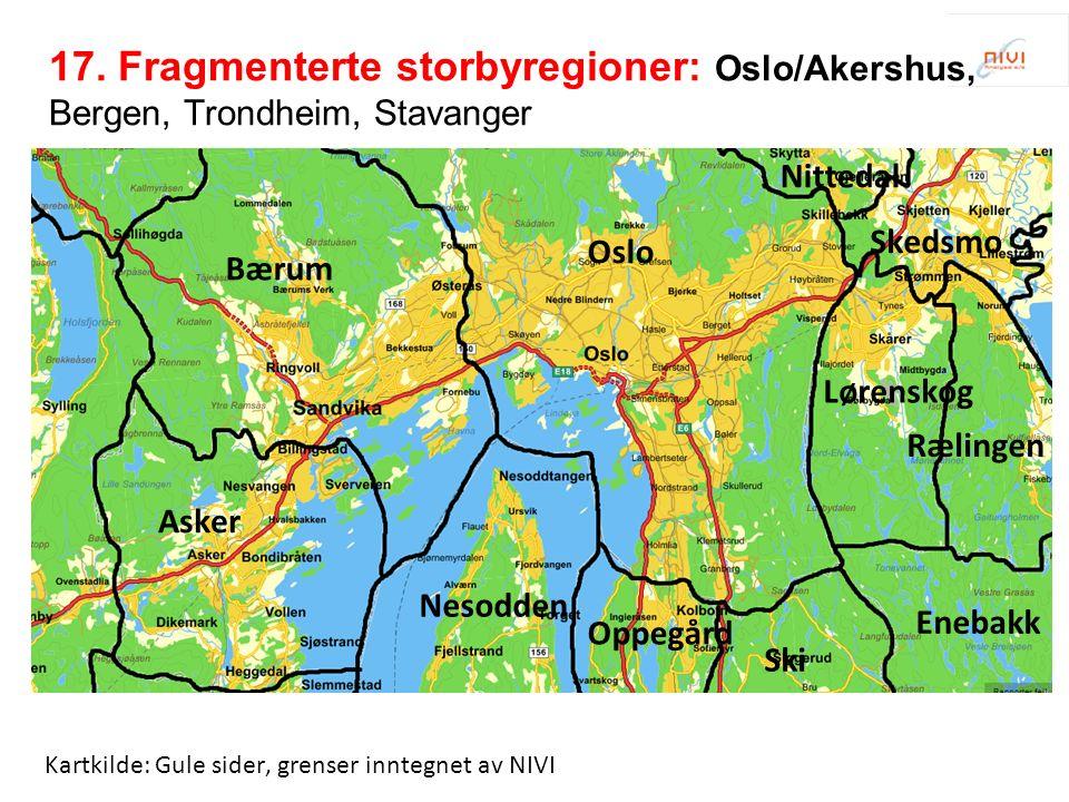 Kartkilde: Gule sider, grenser inntegnet av NIVI Bærum Asker Oslo Skedsmo Lørenskog Rælingen Nesodden Oppegård Ski Enebakk Nittedal 17.