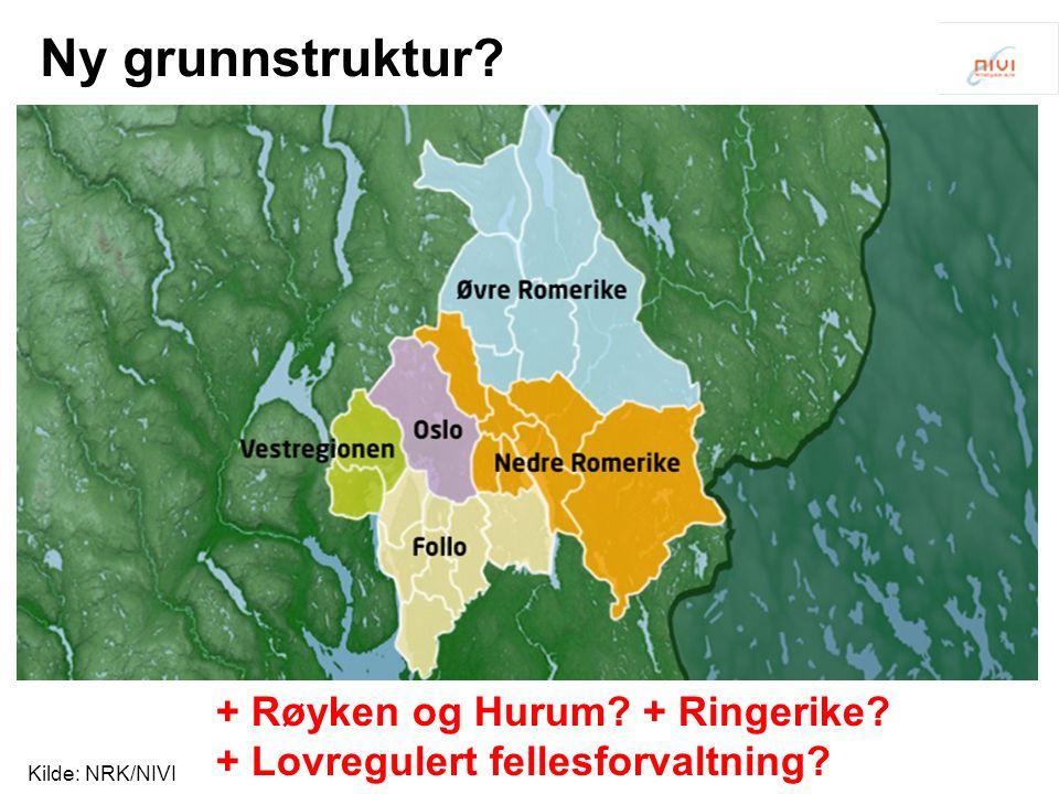 Ny grunnstruktur Kilde: NRK/NIVI + Røyken og Hurum + Ringerike + Lovregulert fellesforvaltning
