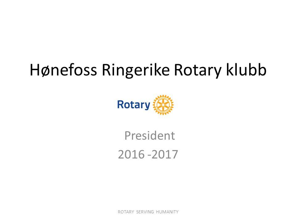 Hønefoss Ringerike Rotary klubb President 2016 -2017 ROTARY SERVING HUMANITY