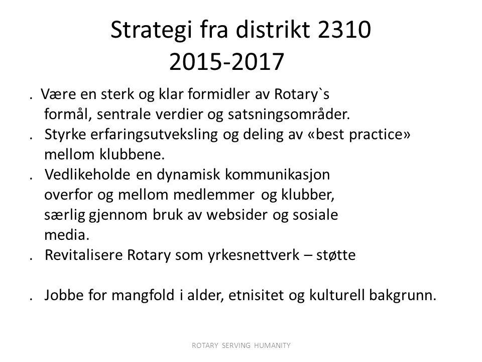 Strategi fra distrikt 2310 2015-2017.