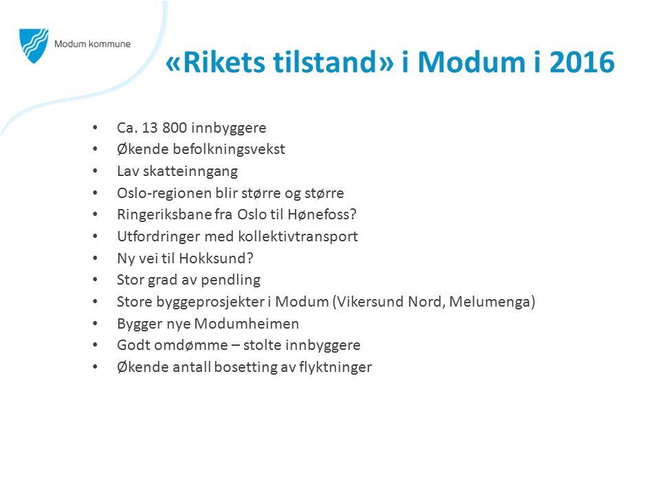 «Rikets tilstand» i Modum i 2016 Ca. 13 800 innbyggere Økende befolkningsvekst Lav skatteinngang Oslo-regionen blir større og større Ringeriksbane fra