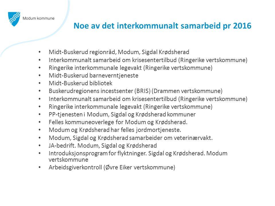 Noe av det interkommunalt samarbeid pr 2016 Midt-Buskerud regionråd, Modum, Sigdal Krødsherad Interkommunalt samarbeid om krisesentertilbud (Ringerike