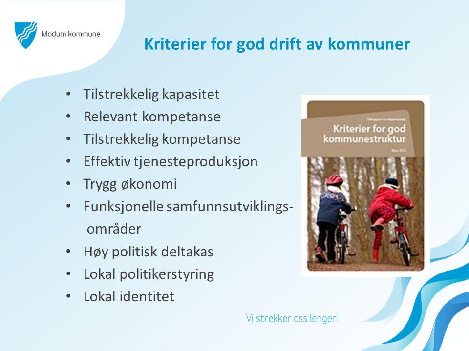 Kriterier for god drift av kommuner Tilstrekkelig kapasitet Relevant kompetanse Tilstrekkelig kompetanse Effektiv tjenesteproduksjon Trygg økonomi Fun