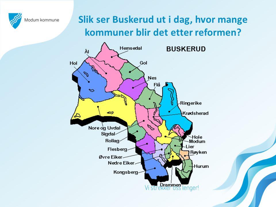 Slik ser Buskerud ut i dag, hvor mange kommuner blir det etter reformen?