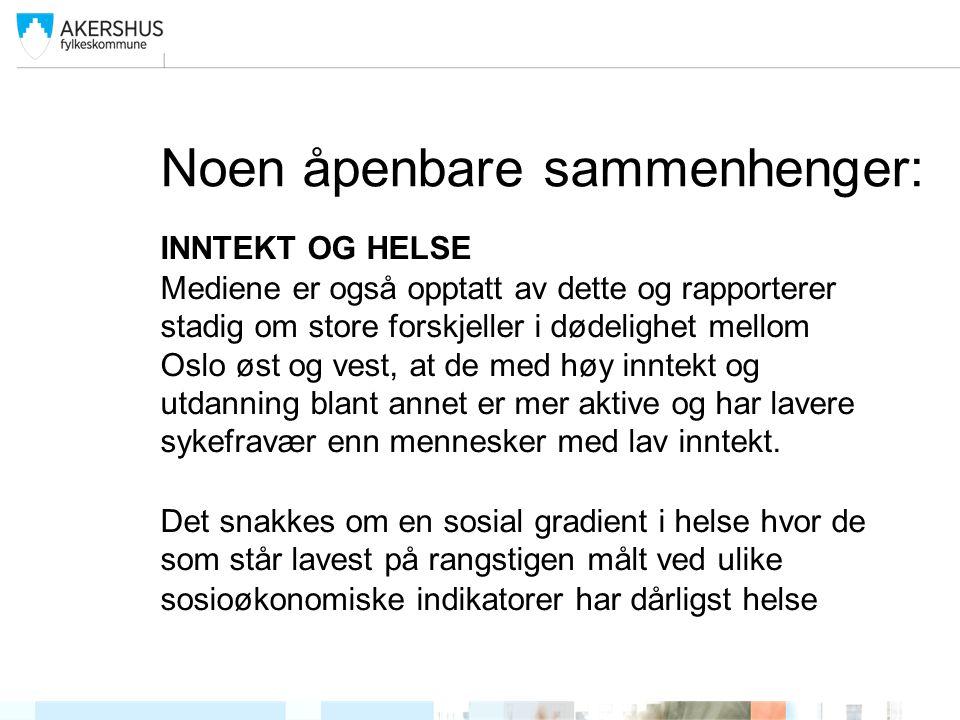 Noen åpenbare sammenhenger: INNTEKT OG HELSE Mediene er også opptatt av dette og rapporterer stadig om store forskjeller i dødelighet mellom Oslo øst og vest, at de med høy inntekt og utdanning blant annet er mer aktive og har lavere sykefravær enn mennesker med lav inntekt.