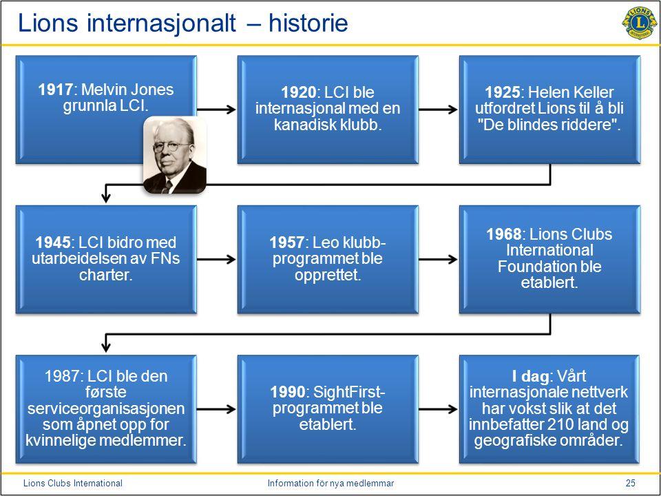 25Lions Clubs InternationalInformation för nya medlemmar Lions internasjonalt – historie 1917: Melvin Jones grunnla LCI.