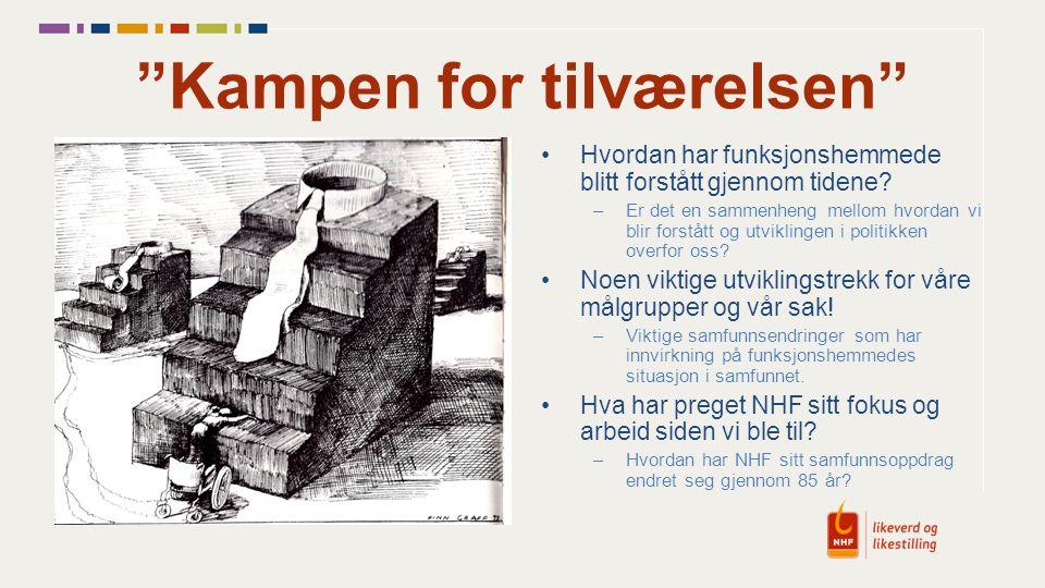 Funksjonshemmede i Norge Noen historiske høydepunkter 2001NOU 2001:22 Fra Bruker til Borger (Manneråk-utv.) 2003St.m.