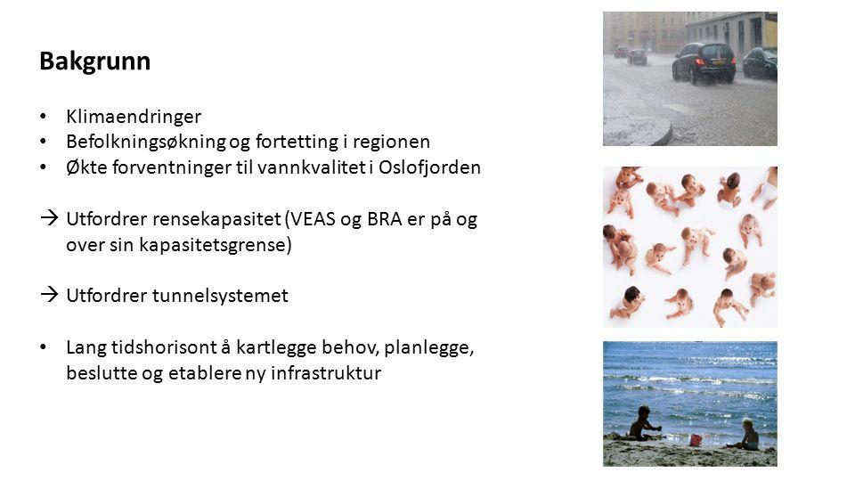 Bakgrunn Klimaendringer Befolkningsøkning og fortetting i regionen Økte forventninger til vannkvalitet i Oslofjorden  Utfordrer rensekapasitet (VEAS