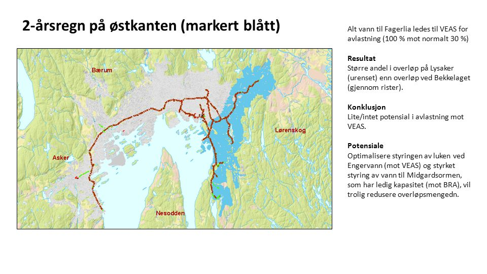 2-årsregn på østkanten (markert blått) Alt vann til Fagerlia ledes til VEAS for avlastning (100 % mot normalt 30 %) Resultat Større andel i overløp på