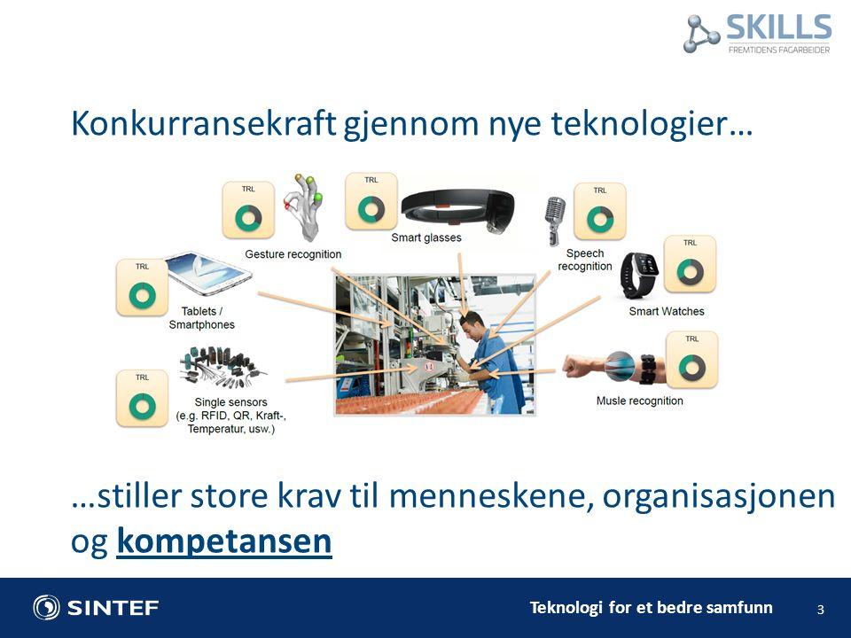 Teknologi for et bedre samfunn Konkurransekraft gjennom nye teknologier… 3 …stiller store krav til menneskene, organisasjonen og kompetansen