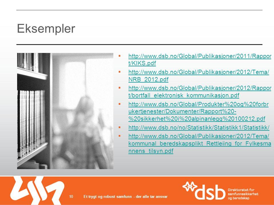 Eksempler  http://www.dsb.no/Global/Publikasjoner/2011/Rappor t/KIKS.pdf http://www.dsb.no/Global/Publikasjoner/2011/Rappor t/KIKS.pdf  http://www.dsb.no/Global/Publikasjoner/2012/Tema/ NRB_2012.pdf http://www.dsb.no/Global/Publikasjoner/2012/Tema/ NRB_2012.pdf  http://www.dsb.no/Global/Publikasjoner/2012/Rappor t/bortfall_elektronisk_kommunikasjon.pdf http://www.dsb.no/Global/Publikasjoner/2012/Rappor t/bortfall_elektronisk_kommunikasjon.pdf  http://www.dsb.no/Global/Produkter%20og%20forbr ukertjenester/Dokumenter/Rapport%20- %20sikkerhet%20i%20alpinanlegg%20100212.pdf http://www.dsb.no/Global/Produkter%20og%20forbr ukertjenester/Dokumenter/Rapport%20- %20sikkerhet%20i%20alpinanlegg%20100212.pdf  http://www.dsb.no/no/Statistikk/Statistikk1/Statistikk/ http://www.dsb.no/no/Statistikk/Statistikk1/Statistikk/  http://www.dsb.no/Global/Publikasjoner/2012/Tema/ kommunal_beredskapsplikt_Rettleiing_for_Fylkesma nnens_tilsyn.pdf http://www.dsb.no/Global/Publikasjoner/2012/Tema/ kommunal_beredskapsplikt_Rettleiing_for_Fylkesma nnens_tilsyn.pdf Et trygt og robust samfunn - der alle tar ansvar10