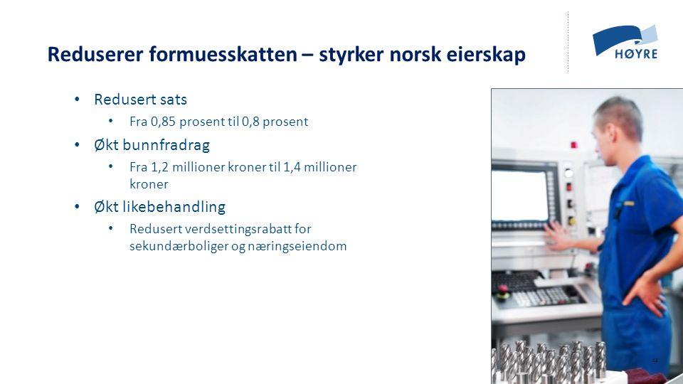 Norsk mal: Tekst med kulepunkter - 1 vertikalt bilde Reduserer formuesskatten – styrker norsk eierskap Redusert sats Fra 0,85 prosent til 0,8 prosent