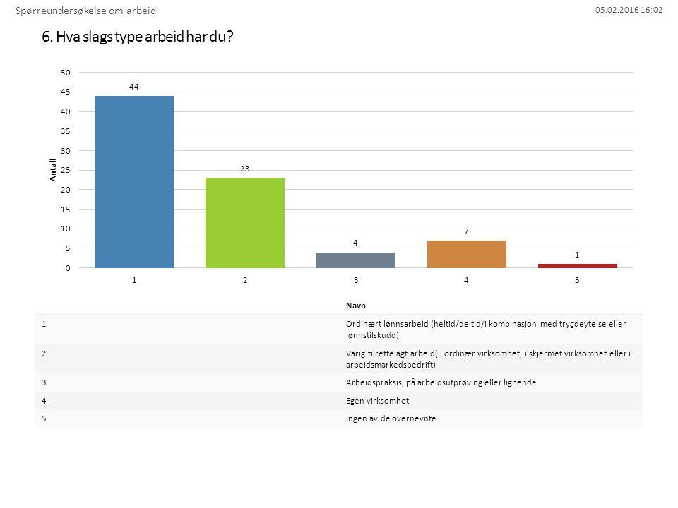 05.02.2016 16:02 6. Hva slags type arbeid har du? Spørreundersøkelse om arbeid Navn 1Ordinært lønnsarbeid (heltid/deltid/i kombinasjon med trygdeytels