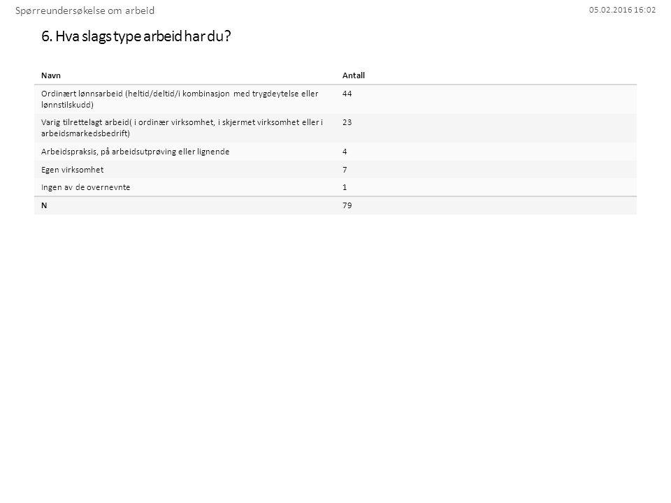 05.02.2016 16:02 6. Hva slags type arbeid har du? Spørreundersøkelse om arbeid NavnAntall Ordinært lønnsarbeid (heltid/deltid/i kombinasjon med trygde