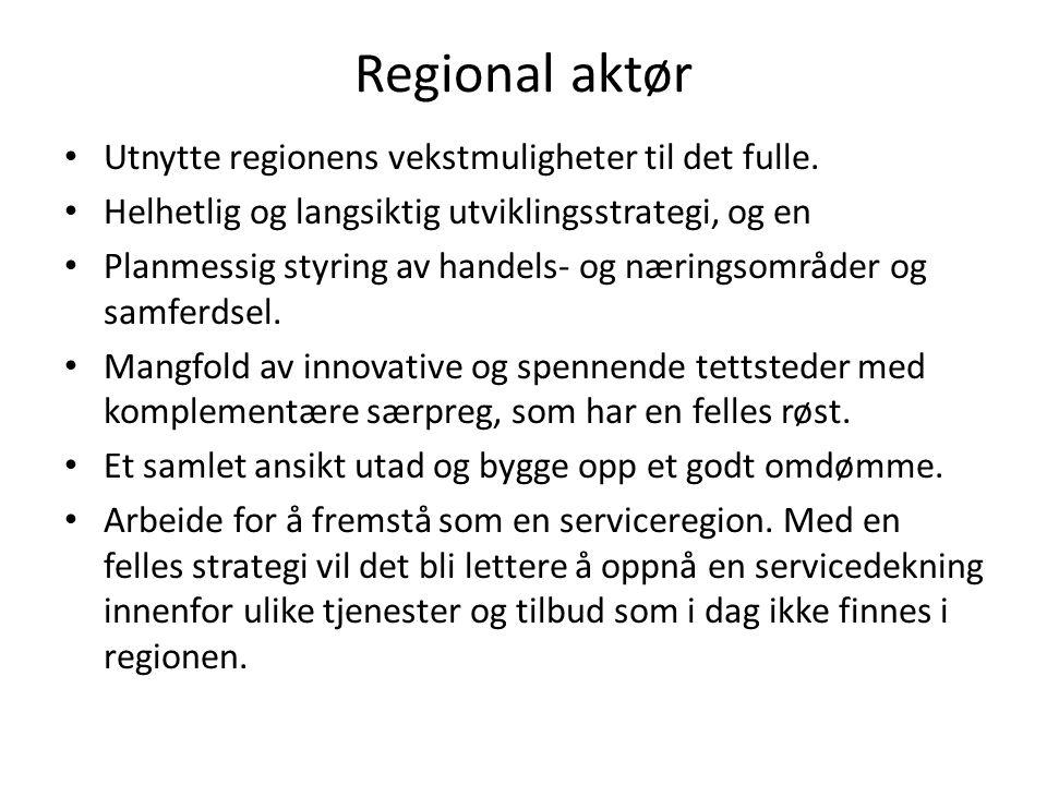 Regional aktør Utnytte regionens vekstmuligheter til det fulle.