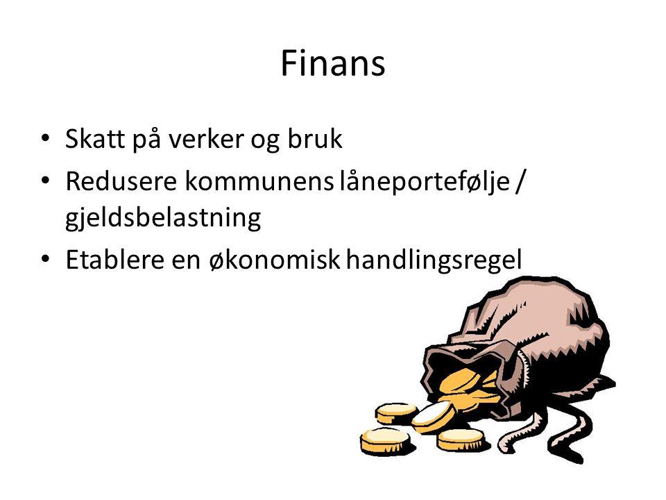 Finans Skatt på verker og bruk Redusere kommunens låneportefølje / gjeldsbelastning Etablere en økonomisk handlingsregel