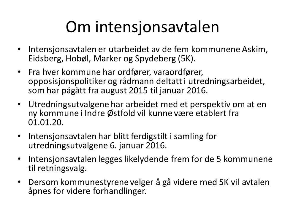 Om intensjonsavtalen Intensjonsavtalen er utarbeidet av de fem kommunene Askim, Eidsberg, Hobøl, Marker og Spydeberg (5K).