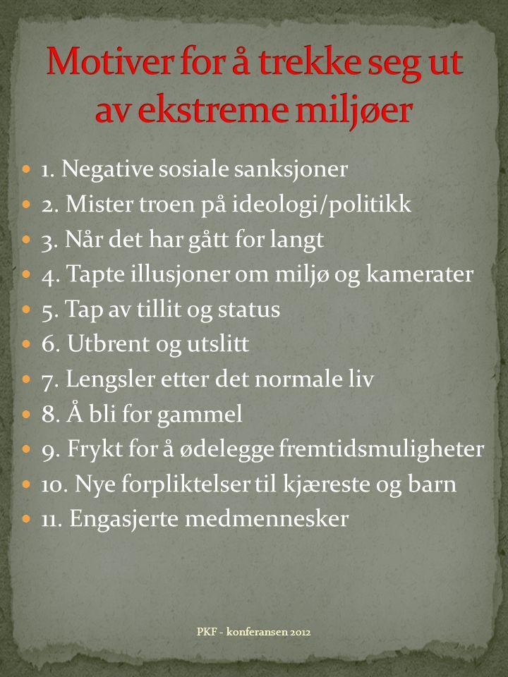 1. Negative sosiale sanksjoner 2. Mister troen på ideologi/politikk 3.