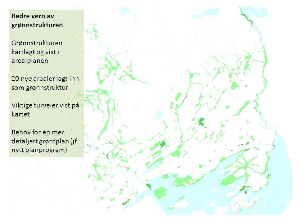 Bedre vern av grønnstrukturen Grønnstrukturen kartlagt og vist i arealplanen 20 nye arealer lagt inn som grønnstruktur Viktige turveier vist på kartet